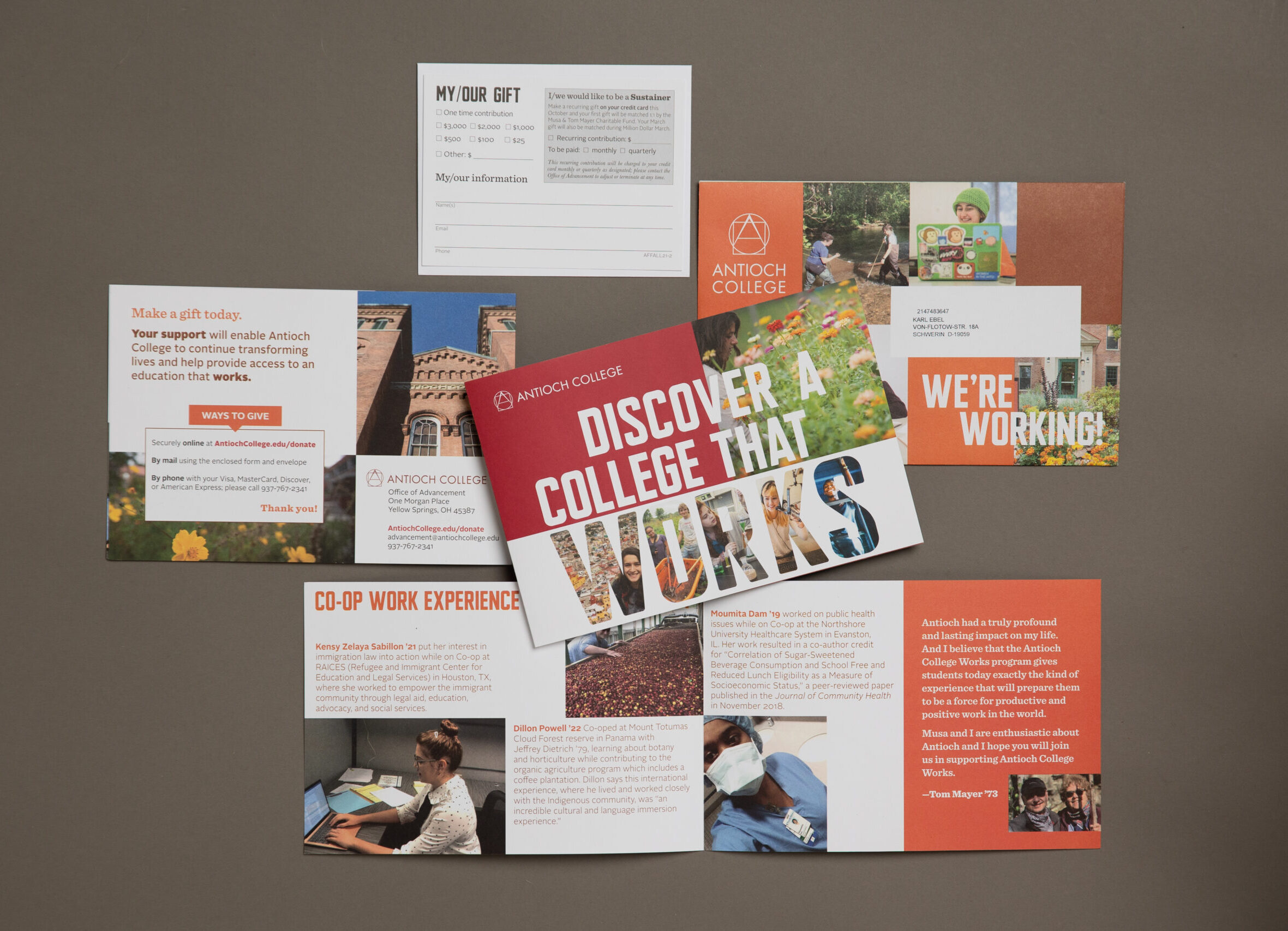 print mail fundraising letter by Oregon Printing in Dayton OH for Antioch College